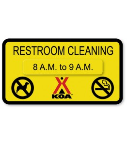 RESTROOM CLEANING w/Hours Attachment & No Pets/No Smoking Symbols