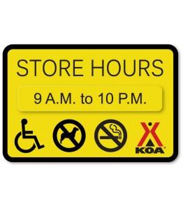 """STORE HOURS w/ 1.75"""" x 10"""" Attachment & ADA/No Pets/No Smoking Symbols"""