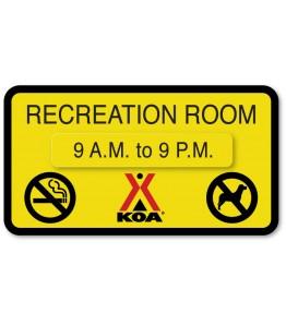 RECREATION ROOM w/Hours Attachment & No Pets/No Smoking Symbols